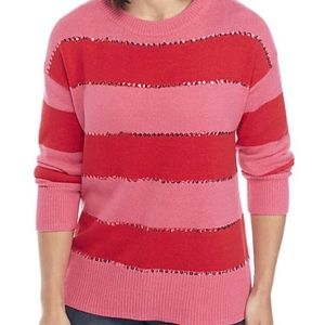 Crown & Ivy Striped Sweater w/ Sequins, Red & Pink